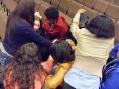 Us praying for Justin